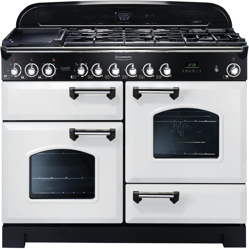 Rangemaster CDL110DFFWH/C Classic Deluxe Dual Fuel 110cm Range Cooker White Chrome