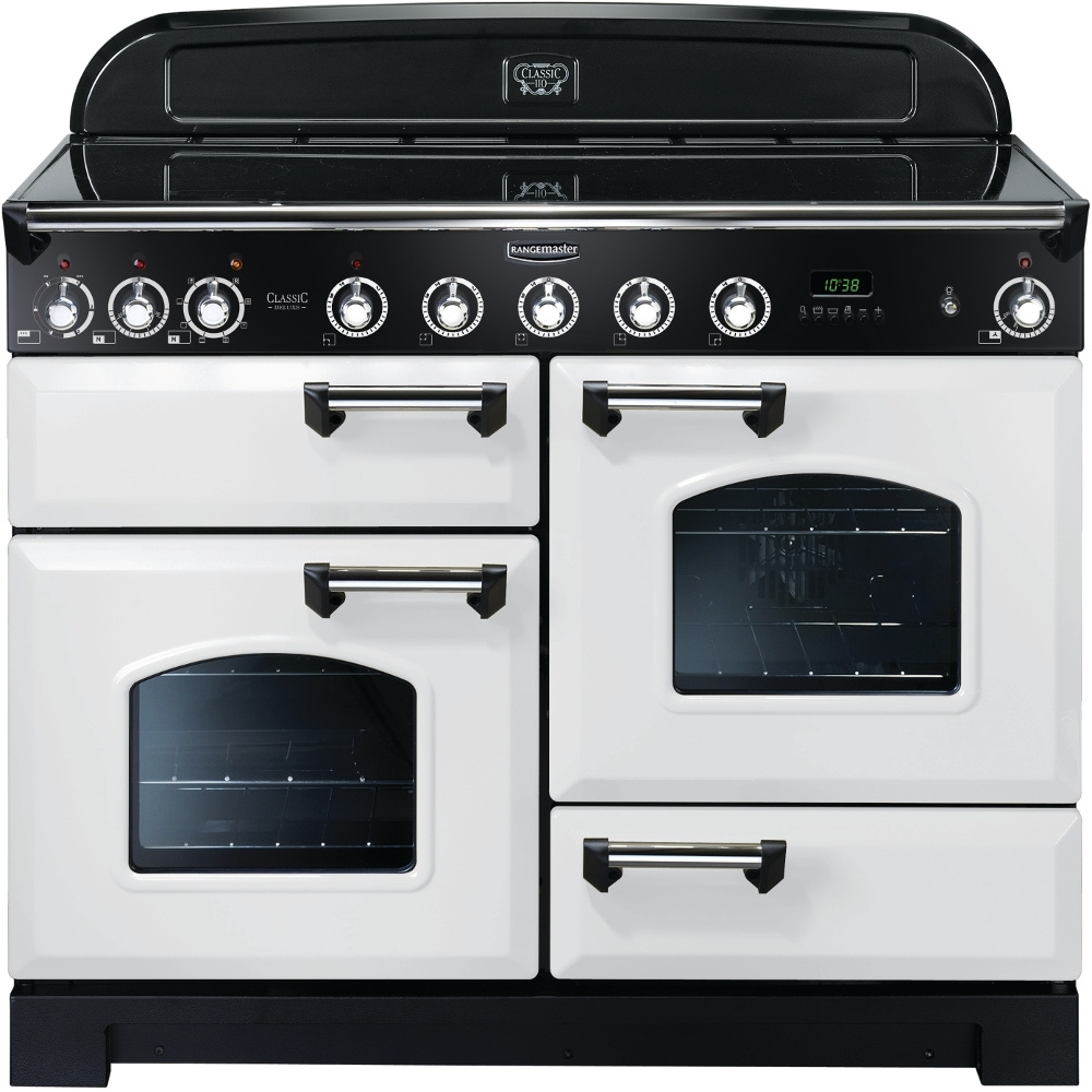 Rangemaster CDL110EIWH/C Classic Deluxe Electric Induction 110cm Range Cooker White Chrome