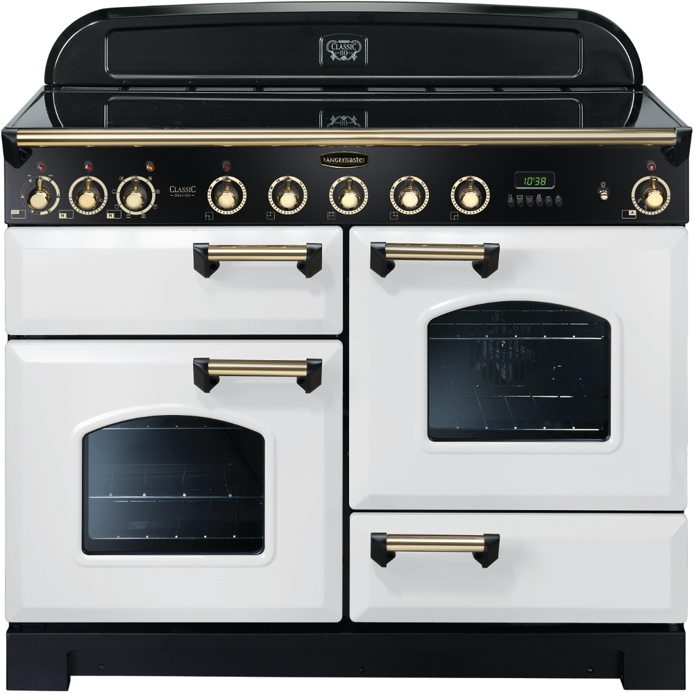 Rangemaster CDL110EIWH/B Classic Deluxe Electric Induction 110cm Range Cooker White Brass