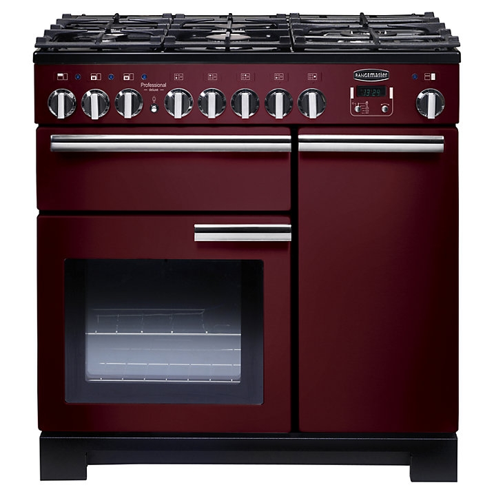 Rangemaster PDL90DFFCY/C Professional Deluxe 90 Dual Fuel Range Cooker, Cranberry