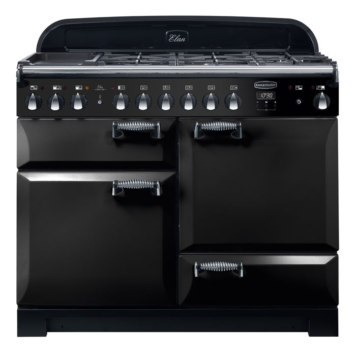 Rangemaster ELA110DFFBL ELAN Deluxe 110cm Dual Fuel Range Cooker Black