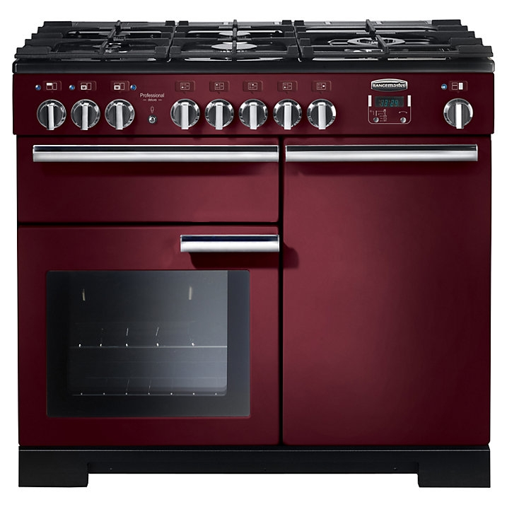 Rangemaster PDL100DFFCY/C Professional Deluxe 100 Dual Fuel Range Cooker, Cranberry