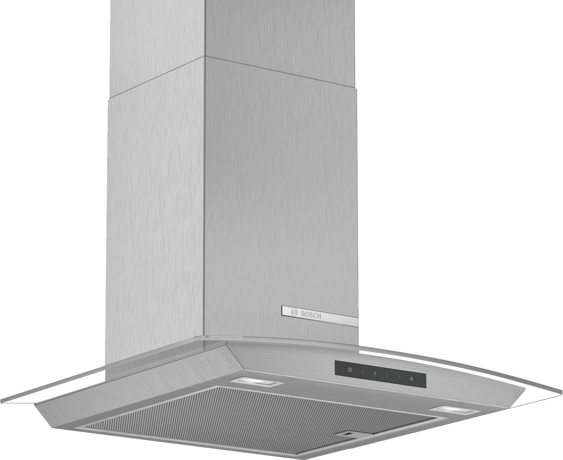 Bosch Serie | 4 DWA66DM50B 60cm Glass Design Chimney Extractor Hood, Brushed Steel