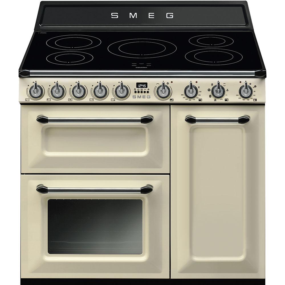 Smeg TR93IP 90cm Victoria Range Cooker with Induction Hob, Cream