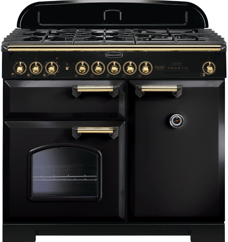 Rangemaster CDL100DFFBL/B Classic Deluxe 100 Dual Fuel Range Cooker, Black/Brass