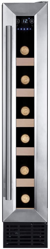 Amica AWC150SS 15cm Freestanding Wine Cooler, 6 Bottle Capacity - Stainless Steel