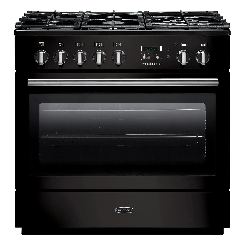Rangemaster PROP90FXDFFGB/C Professional Plus FX 90 Dual Fuel Range Cooker Gloss Black