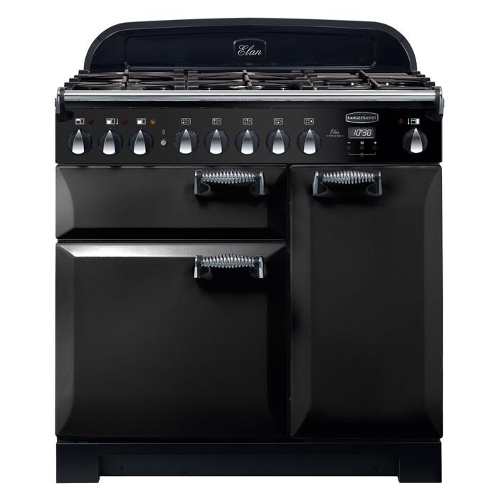 Rangemaster ELA90DFFBL ELAN Deluxe 90cm Dual Fuel Range Cooker Black
