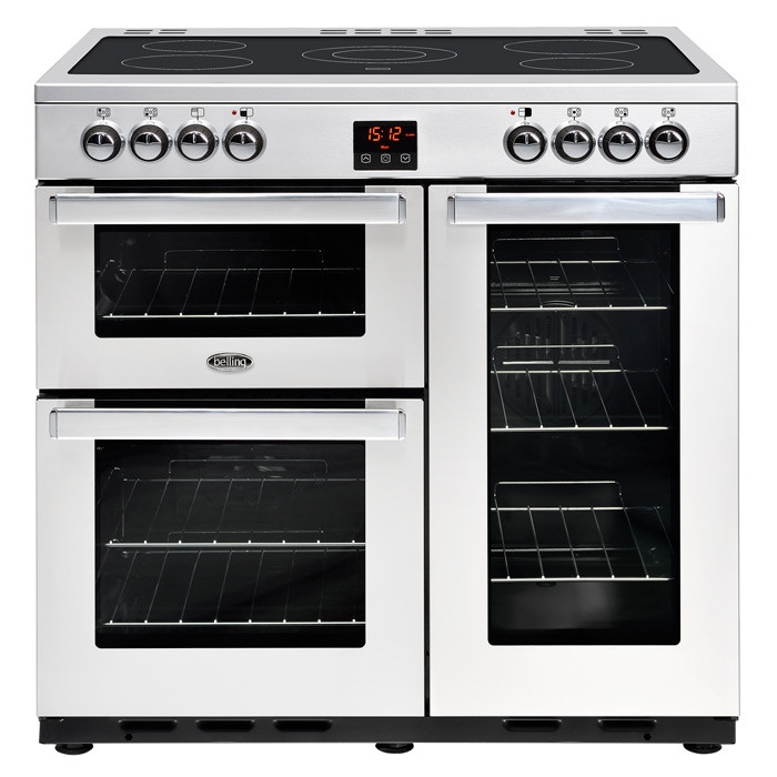 Belling Cookcentre 90EPROFSTA 90cm Electric Ceramic Range Cooker-Professional Stainless Steel
