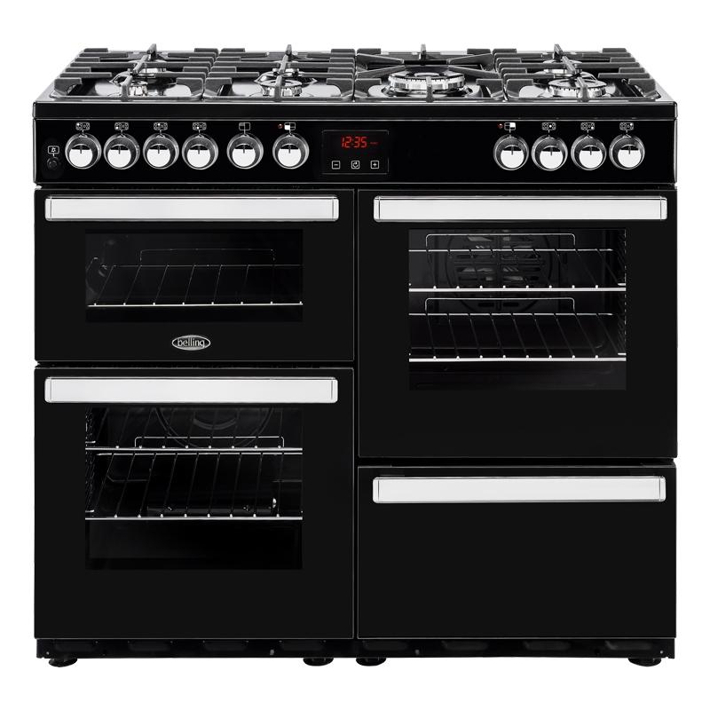 Belling Cookcentre 100DFTBLK 100cm Dual Fuel Range Cooker - Black