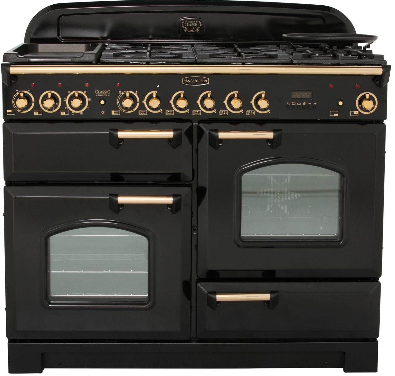 Rangemaster CDL110DFFBL/B Classic Deluxe Range Cooker 110Cm Dual Fuel Black Brass