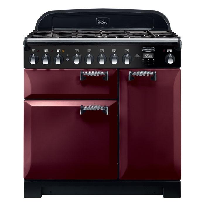 Rangemaster ELA90DFFCY ELAN Deluxe 90cm Dual Fuel Range Cooker Cranberry