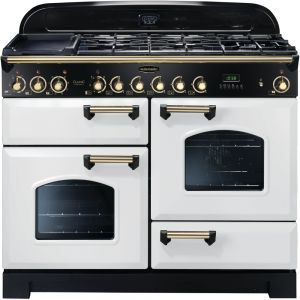 Rangemaster CDL110DFFWH/B Classic Deluxe Dual Fuel 110cm Range Cooker White Brass