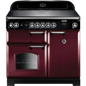 Rangemaster CLA100EICY/C Classic Electric Induction 100cm Range Cooker Cranberry Chrome