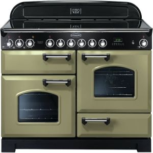 Rangemaster CDL110ECOG/C Classic Deluxe 110cm Electric Ceramic Range Cooker Olive Green/Chrome