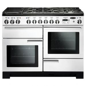 Rangemaster PDL110DFFWH/C Professional Deluxe Dual Fuel 110 Range Cooker White Chrome