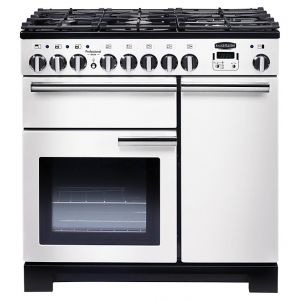 Rangemaster PDL90DFFWH/C Professional Deluxe 90 Dual Fuel Range Cooker, White
