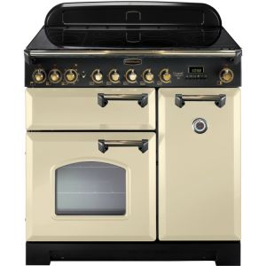 Rangemaster CDL90ECCR/B Classic Deluxe 90 Electric Range Cooker, Cream/Brass
