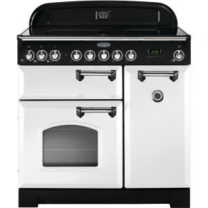 Rangemaster CDL90EIWH/C 90cm Classic Deluxe Electric Induction White/Chrome Range Cooker