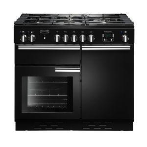 Rangemaster PDL100DFFGB/C Professional Deluxe 100 Dual Fuel Range Cooker, Gloss Black