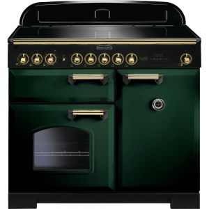 Rangemaster CDL100EIRG/B 100cm Classic Deluxe Electric Induction Racing Green/Brass Range Cooker