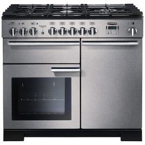 Rangemaster PDL100DFFSS/C Professional Deluxe 100 Dual Fuel Range Cooker, Stainless Steel