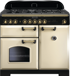 Rangemaster CDL100DFFCR/B Classic Deluxe 100 Dual Fuel Range Cooker, Cream/Brass