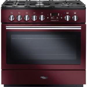 Rangemaster PROP90FXDFFCY/C Professional Plus FX 90 Dual Fuel Range Cooker Cranberry/Chrome