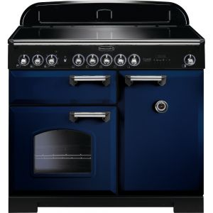 Rangemaster CDL100EIRB/C 100cm Classic Deluxe Electric Induction Regal Blue/Chrome Range Cooker