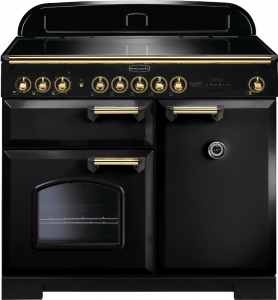 Rangemaster CDL100EIBL/B Classic Deluxe 100 Induction Hob Range Cooker,Black/Brass