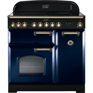 Rangemaster CDL90ECRB/B Classic Deluxe 90cm Electric Ceramic Range Cooker Regal Blue/Brass
