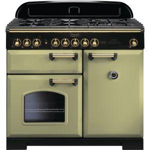 Rangemaster CDL100DFFOG/B 100cm Classic Deluxe Dual Fuel Olive Green/Brass Range Cooker