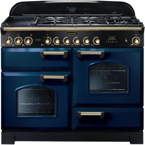 Rangemaster CDL110DFFRB/B Classic Deluxe 110cm Dual Fuel Range Cooker Regal Blue/Brass
