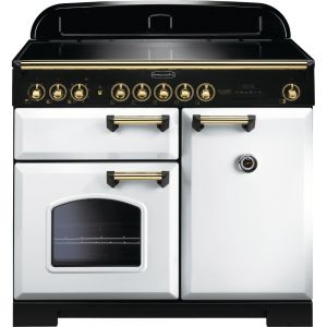 Rangemaster CDL100EIWH/B Classic Deluxe 100 Electric Induction  White/Brass