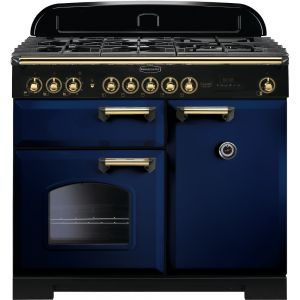 Rangemaster CDL100DFFRB/B 100cm Classic Deluxe Dual Fuel Regal Blue/Brass Range Cooker