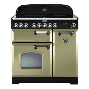 Rangemaster CDL90ECOG/C 90cm Classic Deluxe Electric Ceramic Olive Green Range Cooker
