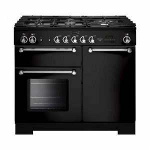 Rangemaster KCH100NGFBL/C Kitchener 100 Natural Gas Range Cooker Black Chrome