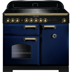 Rangemaster CDL100EIRB/B 100cm Classic Deluxe Electric Induction Regal Blue/Brass Range Cooker