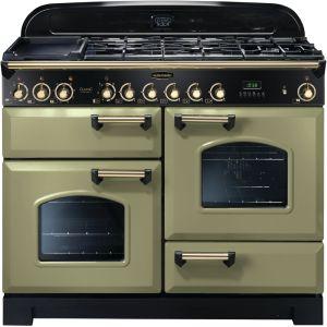 Rangemaster CDL110DFFOG/B Classic Deluxe 110cm Dual Fuel Range Cooker Olive Green/ Brass