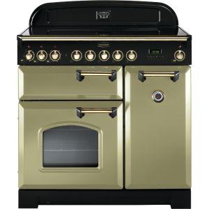 Rangemaster CDL90ECOG/B Classic Deluxe 90cm Electric Ceramic Range Cooker Olive Green/Brass