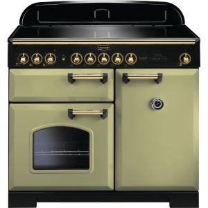 Rangemaster CDL100EIOG/B 100cm Classic Deluxe Electric Induction Olive Green/Brass Range Cooker