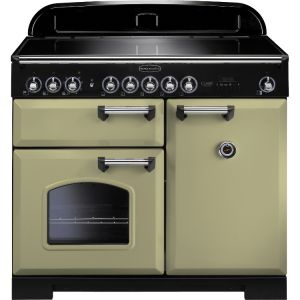 Rangemaster CDL100EIOG/C 100cm Classic Deluxe Electric Induction Olive Green/Chrome Range Cooker