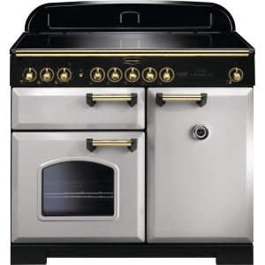 Rangemaster CDL100EIRP/B 100cm Classic Deluxe Electric Induction Royal Pearl/Brass Range Cooker