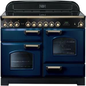 Rangemaster CDL110ECRB/B Classic Deluxe 110cm Electric Ceramic Range Cooker Regal Blue/Brass