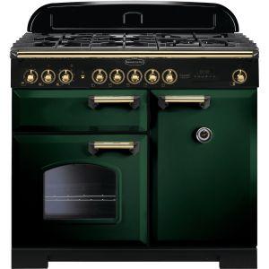 Rangemaster CDL100DFFRG/B 100cm Classic Deluxe Dual Fuel Racing Green/Brass Range Cooker