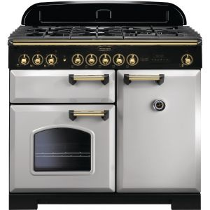 Rangemaster CDL100DFFRP/B 100cm Classic Deluxe Dual Fuel Royal Pearl/Brass Range Cooker