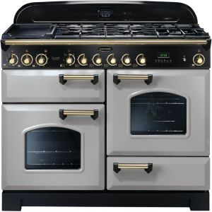 Rangemaster CDL110DFFRP/B Classic Deluxe 110cm Dual Fuel Range Cooker Royal Pearl/Brass