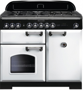 Rangemaster CDL100DFFWH/C Classic Deluxe 100 Dual Fuel Range Cooker, White Chrome