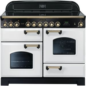 Rangemaster CDL110ECWH/B Classic Deluxe 110cm Electric Ceramic Range Cooker White/Brass