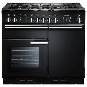 Rangemaster PROP100DFFGB/C Professional + 100 Dual Fuel Range Cooker, Gloss Black